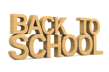 back to school on white background. Isolated 3D illustration