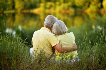 Loving senior couple posing