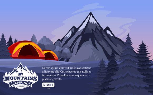 Vector mountains camping horizontal banner
