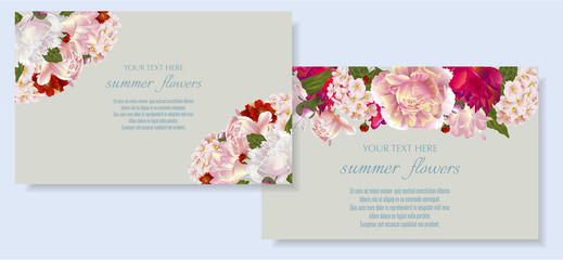 Vector banners set with summer flowers.Template for greeting cards, wedding decorations, invitation ,sales. Spring or summer design. Place for text.