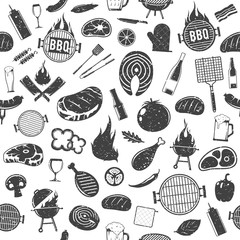 Vector retro styled barbecue icons seamless pattern or background