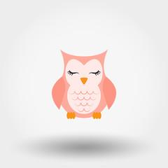 Sleeping owl. Icon. Vector. Flat.