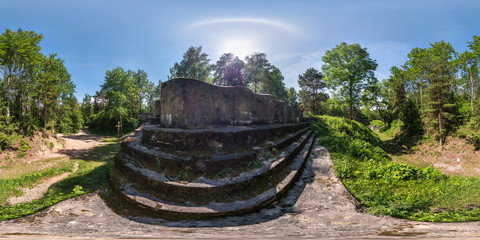 full seamless panorama 360 by 180 degrees angle view ruined abandoned military fortress of the First World War in forest in equirectangular spherical equidistant projection, skybox VR AR content
