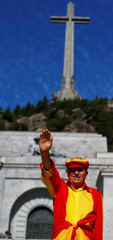 A man attends a demonstration against plans to remove Franco from the Valle de los Caidos in San Lorenzo de El Escorial