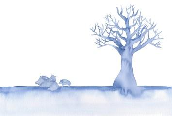 青い樹木のシルエット、猪の親子