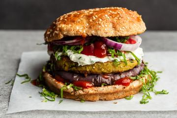 Veggie burger on plate