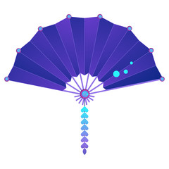 Japanese hand folding fan illustration