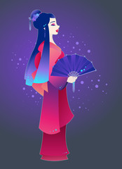 Colorful illustration of a geisha holding a decorated fan