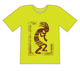 Printing on a T-shirt. Native Americans ethnic symbol, kokopelli, hatchet man. Grunge effect is removable.
