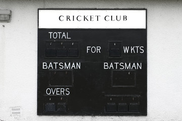 Cricket club score board blank batsman and wickets
