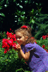 Cute beautiful girl in pink dress posing with red flowers. Vintage style colored picture. Childhood concept