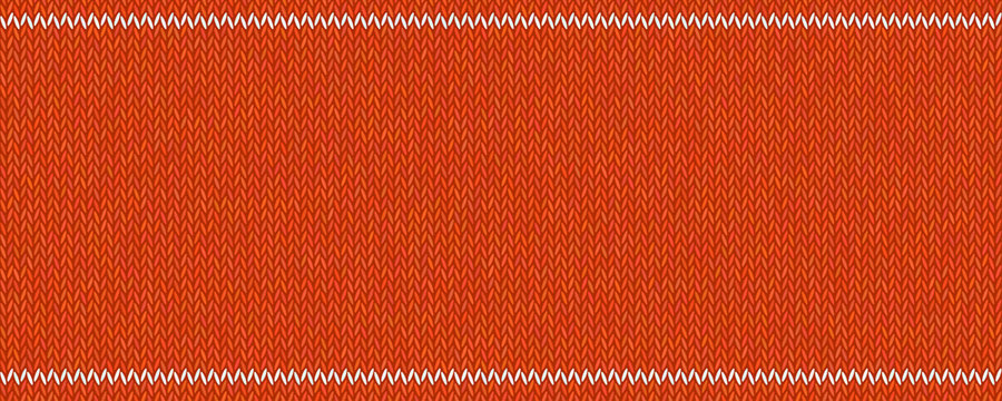 Knitted texture with  white stripes on red woolen background.
