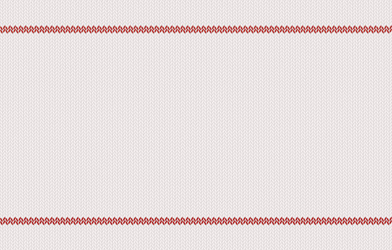 Knitted texture with red stripes on white woolen background.