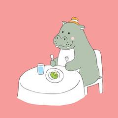 Cartoon cute hippo and broccoli vector.