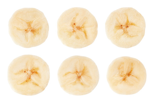 banana slice isolated on white background, clipping path, full depth of field