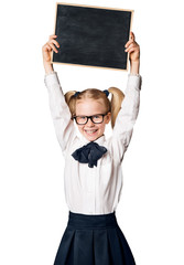 Child Girl Advertising School Blackboard, Kid in Glasses Raised Up Advertisement on Blank Chalkboard, Isolated over White Background