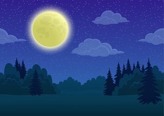 Cartoon Background, Night Landscape with Green Summer Forest, Blue Sky, White Clouds and Big Bright Moon. Vector