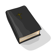 Holy Bible. Cartoon Drawing. Vector Illustration.