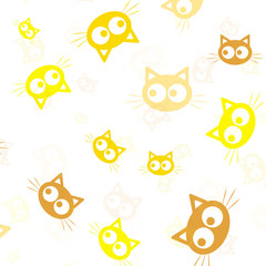 Animal silhouette. Wallpaper and fabric design and decor. Vector illustration. Pattern of colorful Heads of Cats on White Background.