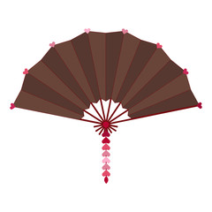 Brown colored folding fan vector isolated on white background