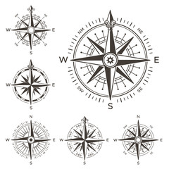 Retro nautical compass. Vintage rose of wind for sea world map. West and east or south and north arrows symbol isolated vector set