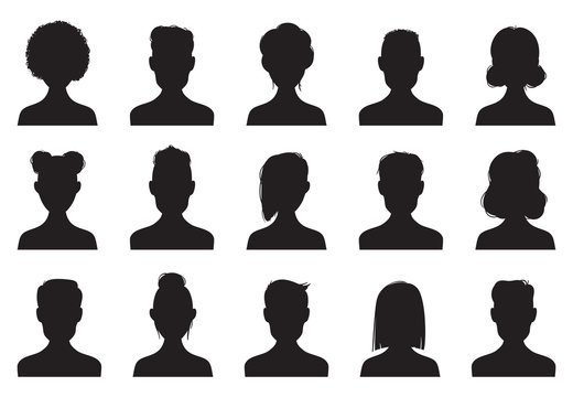 Users silhouette icons. Male and female head silhouettes. Anonymous person heads avatar vector icon set