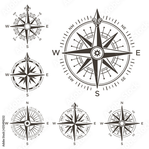 Retro Nautical Compass Vintage Rose Of Wind For Sea World Map West