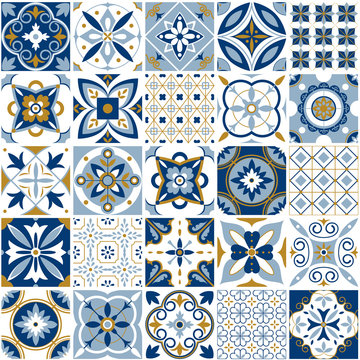 Moroccan pattern. Decor tile texture with blue ornament. Traditional arabic and indian pottery tiling seamless patterns vector set
