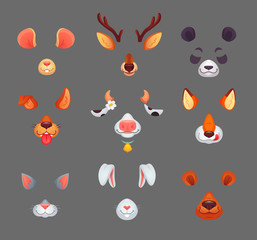 Animals for phone app. Funny animal filter masks with ears and noses. Vector set