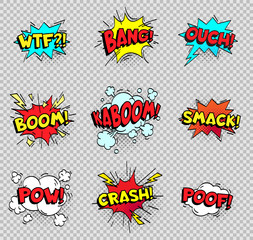 Comic speech bubbles. Cartoon explosions text balloons. Wtf bang ouch boom smack pow crash poof popping vector shapes isolated