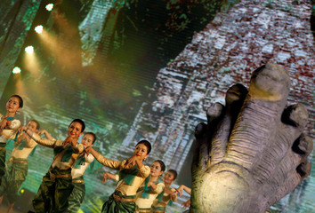 Dancers perform during template as UNESCO site anniversary in Phnom Penh