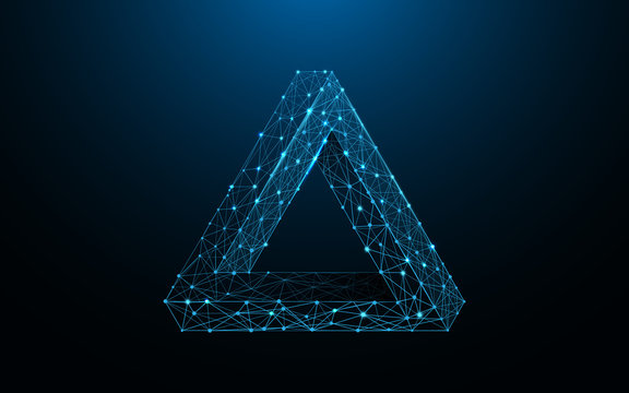 Penrose triangle form lines, triangles and particle style design. Illustration vector