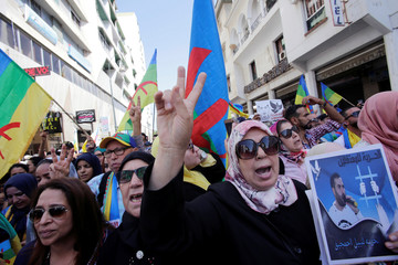Woman shouts slogans during demonstration against the Moroccan court in Rabat