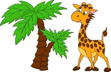 Cute Giraffe and palm tree. Raster illustration