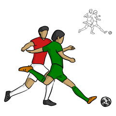 two male soccer players fighting for a ball vector illustration sketch doodle hand drawn with black lines isolated on white background