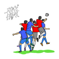 male soccer players heading a ball in the air vector illustration sketch doodle hand drawn with black lines isolated on white background