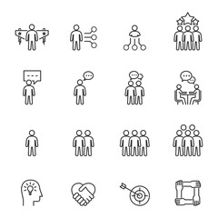 Business People Icons Line Vector , Person Work Group Team , Meeting