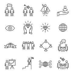 Business People Icons Line Vector , Person Work Group Team , Meeting , Success
