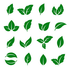 set of green leaf icons