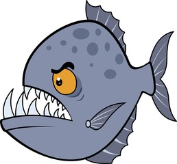 Hungry piranha. Raster illustration eps.