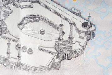 One Hundred Saudi Riyal close up with selective focus and crop fragment