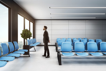 businessman in waiting area hall