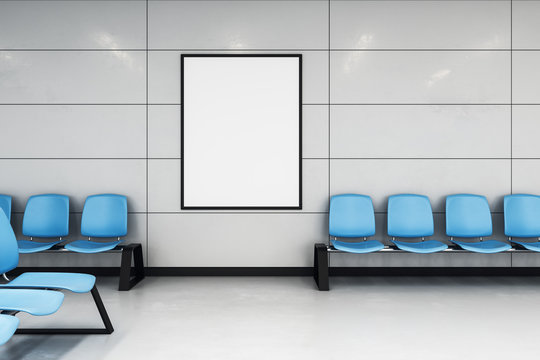 mockup poster in waiting hall