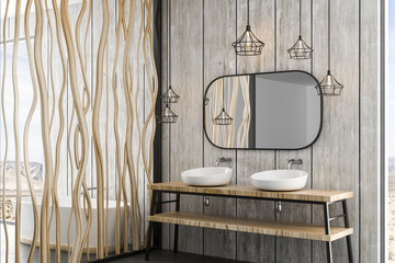 wooden canes wall in modern bathroom