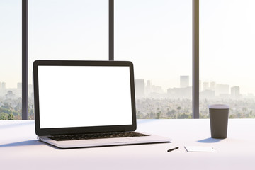 mockup white laptop screen