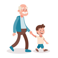 Grandfather and grandson walking, he takes him by the hand. Cartoon style, isolated on white background. Vector illustration.