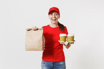 Woman in red cap, t-shirt giving fast food order isolated on white background. Female courier holding paper packet with food, coffee. Products delivery from shop or restaurant to your home. Copy space