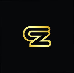 Abstract letter CZ ZC. minimal logo design template. Vector letter logo with gold and black color.