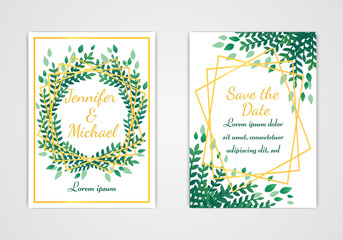 Set of rectangular wedding invitation cards. Green leaves and golden frame on a white background.