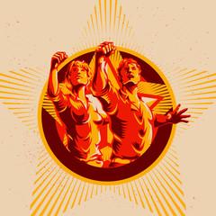 Men and Women Revolution Poster Propaganda Background Style. Protest fist. Retro revolution poster design.